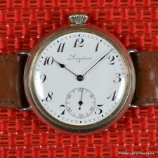 LONGINES 1917 40MM Cal 15.25 TRENCH WATCH ENAMEL DIAL WIRE LUGS EARLY WRISTWATCH
