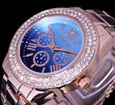 Excellanc Uhr Damenuhr Armbanduhr blau RoseGold Farben STRASS Bicolour 3err2