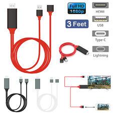 USB Tipo C Lightning A Hdmi Con Cable De Carga Para Samsung Galaxy S9 Plus Iphone