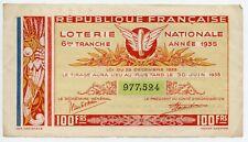 BILLET DE LOTERIE NATIONALE DE 100 FRANCS DE 1935