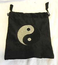 Black Velvet Drawstring Pouch / Drawstring Bag with Yin Yang Decoration - BNWT