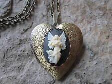 Locket - Religious, God, Lord, Jesus Flying Guardian Angel Cameo Bronze Heart