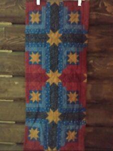 New Primitive Handmade Table Runner Barn Star Country Cabin Red Blue Home Decor