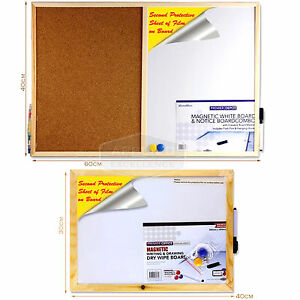 MAGNETIC WHITEBOARD MEMO NOTICE BOARD PLANNER WITH MARKER & MAGNETS FRAME 2 SIZE
