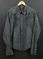 ROAR Men's Brown Striped Long Sleeve Distressed / Frayed Hem Graphic Shirt sz XL
