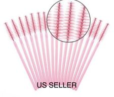 50 Disposable Eyelash Extension Brushes Pink Mascara Wands Applicator