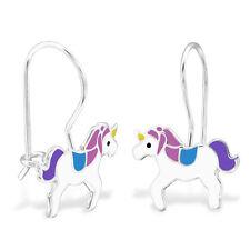 925 Sterling Silver Purple Unicorn Dangle Earrings Pegasus Horse Boxed Dangle