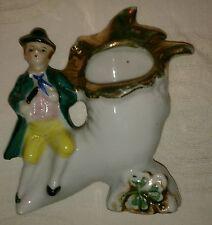 Superb hand painted Gilt Irish Porcelain Horn spill Vase with leprechaun
