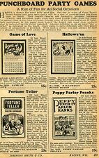 1929 small Print Ad of Punchboard Party Games Fortune Teller Peppy Parlor Pranks