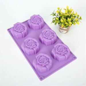 Haushalts langlebige Silikonblume Rose Kuchen handgemachte Seifenform DIY BackwC