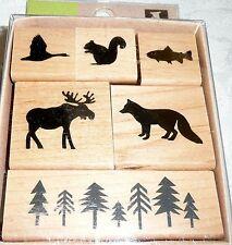 Inkadinkado Wood-Mounted Rubber Stamp Set WOODLAND