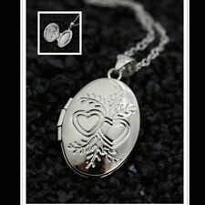 Charm 925 Silve Chain Necklace Oval Heart Frame Locket Pendant Xmas Gift Jewelry