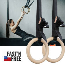 Wood Gymnastic Rings 28mm Gym Fitness Rings with Adjustable Straps Fully Body