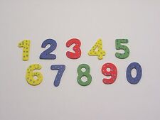 20 wooden flat backed Bold coloured numbers, cardmaking, scrapbooking, crafts
