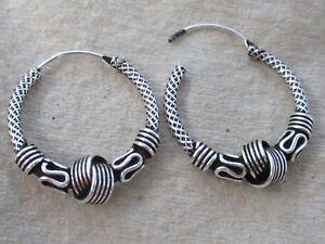 REAL 925 sterling silver 20mm Oxidised Knot BALI THAI sleepers hoop earrings