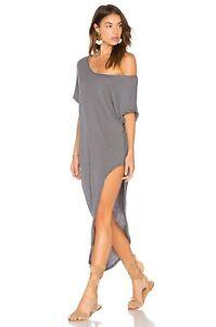 NEW Free People Isle of Palms Hi-Low Grey Striped Dress L