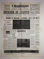 N1232 La Une Du Journal L'humanité 6 novembre 1956 invasion de l'Égypte