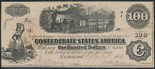 Csa #T-40 $100 1862 Confederate States Bank Note Au+ Bt1128