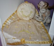 Gorgeous Antique 1908 Blanket & Pillow Embroidered Ribbon Work Bassinet Set