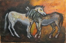 Expressionist oil painting horses
