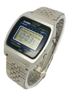 VINTAGE CASIO 95QS-31 DIGITAL CHRONOGRAPH MENS STAINLESS STEEL BRACELET WATCH