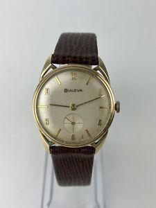 """Vintage 1958 (L8) Bulova 10K Rolled Gold Plate """"Cat Ears"""" Case Men's Watch"""