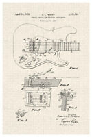 Electric Guitar Official Patent Diagram Poster 12x18