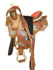"""""""Thsl"""" Western Barrel Saddle Pkg Carved Brwn/Nat/Paint Rawhide Lacing 15"""" (1099)"""