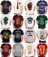 Official Harry Potter T Shirt Hogwarts Gryffindor Hufflepuff crests new mens