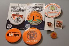 Lot of 8 vtg 90s Tennessee Vols pin button for shirt hat jacket Volunteers