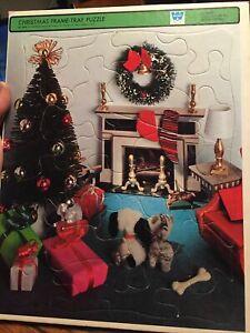 Vtg 1969 Whitman Frame Tray Puzzle Christmas Western Publishing Co Tree Cat Dog