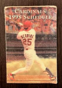 1998 St. Louis Cardinals Baseball Pocket Schedule FamousBar Version Mark McGwire