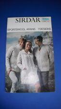 Sirdar Sports Wool Arans 7 Designs Knitting Pattern Book 9954