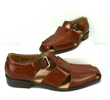 Vintage STACY ADAMS Patent Leather Sandals Shoes South Beach Mens 7M Brown