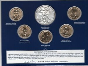 2014 USA Mint Annual Uncirculated Dollar Coin Set With 2014-W Burnished Eagle