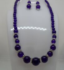Purple Amethyst Round Bead Gemstone Necklace with Crystal Diamante Spacers