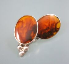 MEXICO 925 Sterling Silver Faux Amber Resin Stud Earrings