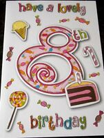 Have a Lovely 8th Birthday, Card by Eclipse Cards. Female Birthday Card.