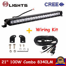 21-Inch 100W Single-Row Slim LED Light Bar Fits For Jeep Truck Off-Road 4x4 ATV