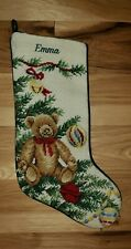 Lands End Christmas Needlepoint Personalized Stocking Emma teddy bear Xmas
