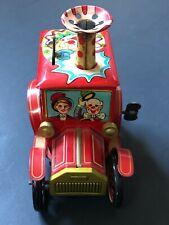 Vintage Tin Wind Up Clown Car 1950's Litho Circus Car