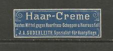 J A Suderleith Hair Creme advertising label (German text)