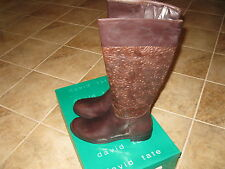 WOMENS SIZE 11W BROWN LEATHER BOOTS BY DAVID TATE **NEW IN BOX** BEAUTIFUL!!!