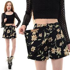 Vtg 90s Blk Rayon FLORAL Grunge Revival HIGH WAIST Clueless Mini Skirt Shorts XS