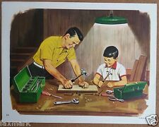 Dad & Son with Tools        1965 Art Print          David C. Cook Publishing Co.