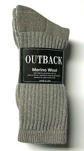 3 Pair Men's  Brown Cushion Bottom Merino Wool Work Crew Sock Size 9-11.