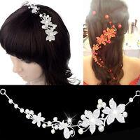 Diadem Tiara Blumen Perlen Strass Braut Haarschmuck Blumen Blüten Braut-Hochzeit