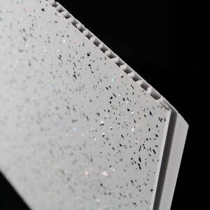 10 Platinum White Sparkle Bathroom PVC Cladding Plastic Shower Wall Panels