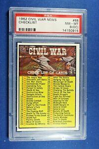 """1962 Topps Civil War News - #88 """"Checklist"""" - PSA NM/Mt 8 (OC)"""