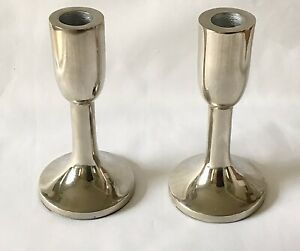 Set of 2 Small Metal Candlestick Holders With Chrome Effect - NEW